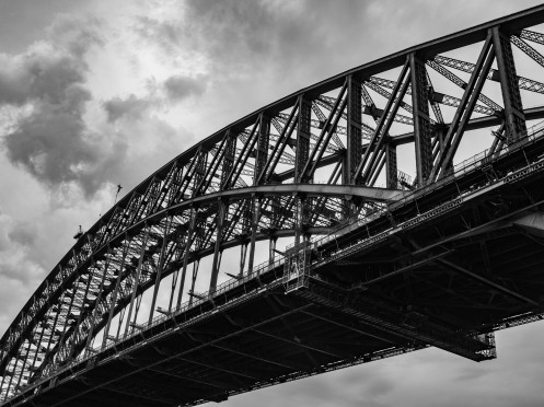 harbor bridge b&w