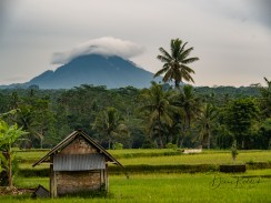 Shack with Volcano