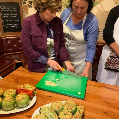 Barb & Vicki Stuffing Zucchini